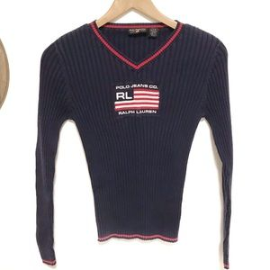 Vintage Ralph Lauren RL flag sweater fits small